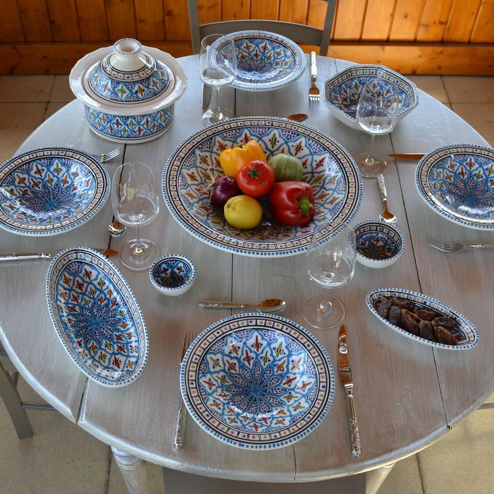 Service couscous assiettes tebsis jileni turquoise d 23 cm for Plat a paella gifi