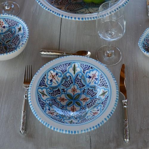 6 assiettes Tebsi Marocain turquoise - D 23 cm