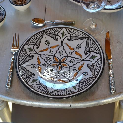 Assiette plate Marocain noir - Diam 24 cm