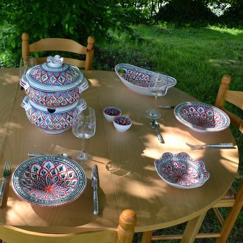Service à couscous assiettes Tebsis Jileni rouge - 6 pers