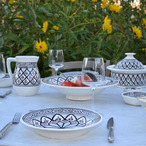 Service à couscous assiettes creuses Jileni gris - 6 pers