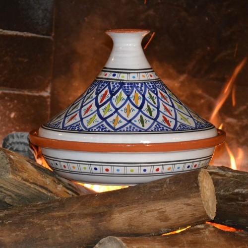 Tajine Jileni bleu - Diam 31 cm traditionnel