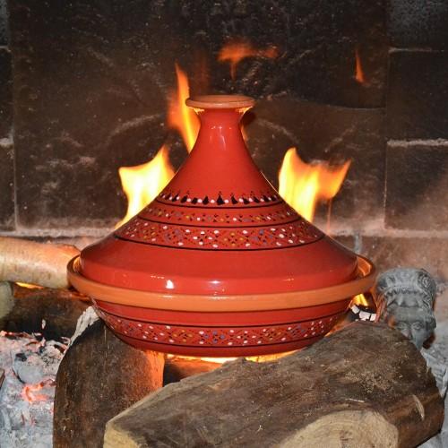 Tajine Marrakech Rouge - Diam 31 cm traditionnel