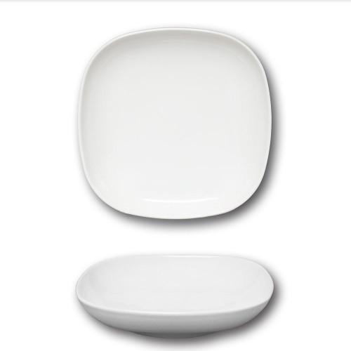 Lot 6 assiettes creuses porcelaine blanche - L 21 cm - Danubio