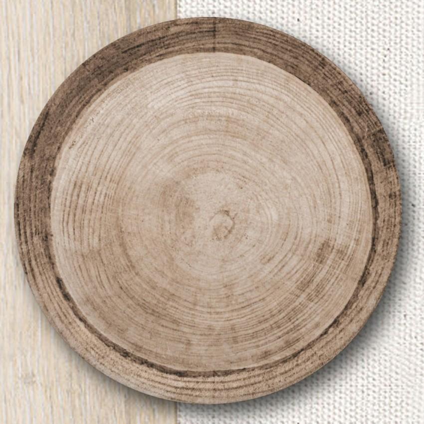 Lot de 6 assiettes à pizza décor Effet Bois -D 31 cm