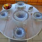 Service à couscous assiettes Tebsis Jileni turquoise - 6 pers