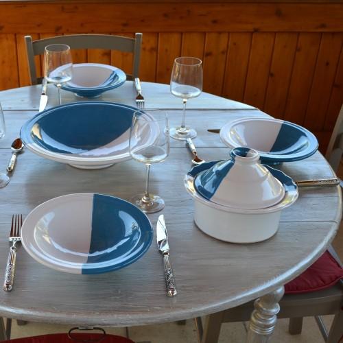Service à couscous assiettes Tebsi Kerouan bleu et blanc - 6 pers