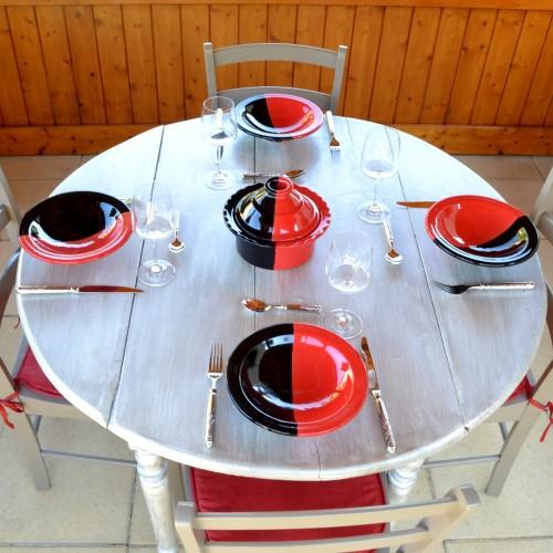 Service à couscous assiettes Tebsi Kerouan noir et rouge - 6 pers