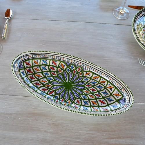 Plat ovale Bakir vert - L 24 cm