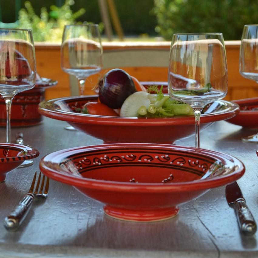 Service à couscous assiettes Tebsis Tatoué rouge - 6 pers