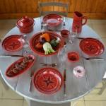 Service à couscous assiettes creuses Tatoué rouge - 6 pers