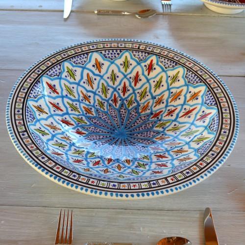 Plat traditionnel Tebsi Bakir turquoise - D 33 cm