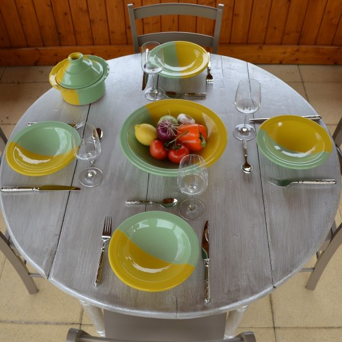 Service à couscous assiettes Tebsi Kerouan jaune et pistache - 6 pers
