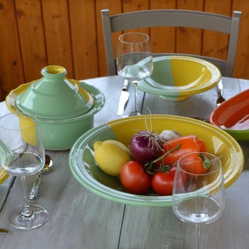 Service à couscous assiettes Tebsi Kerouan jaune et pistache - 4 pers