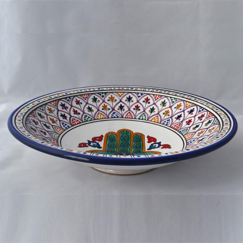 Plat rond décor main de fatma - Pièce unique - Diam 41 cm