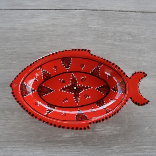 Plat poisson Tatoué rouge - L 28 cm