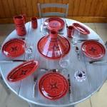Assiette à entrée ou dessert Tatoué rouge - D 20 cm