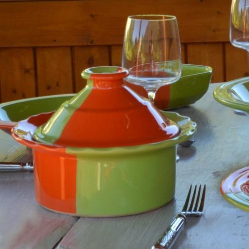 Cocotte Querouana Kerouan orange et vert - D 20 cm