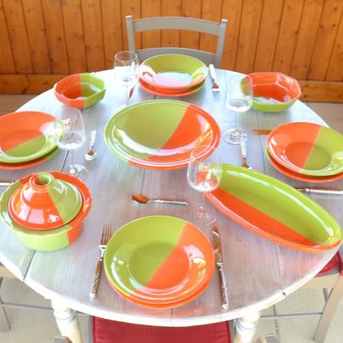 Service à couscous assiettes creuses Kerouan orange et vert - 6 pers