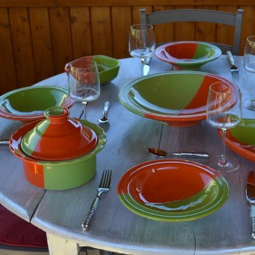 Service à couscous assiettes Tebsi Kerouan orange et vert - 6 pers