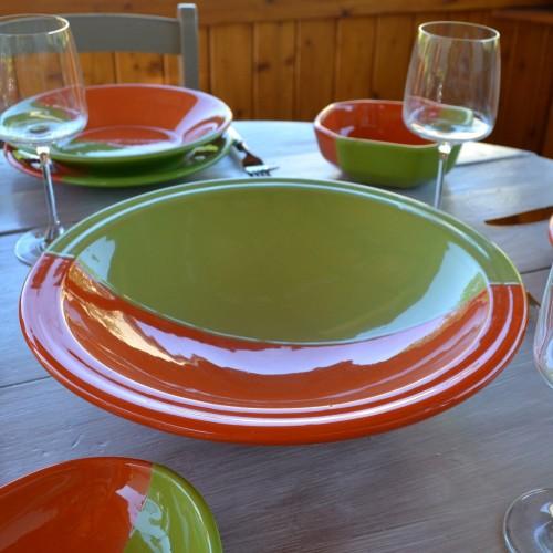 Plat Tebsi Kerouan orange et vert - D 33 cm