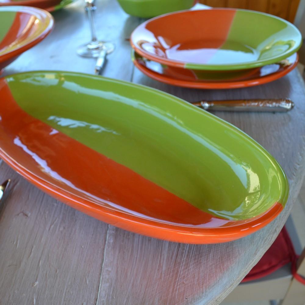 plat ovale kerouan orange et vert l 40 cm. Black Bedroom Furniture Sets. Home Design Ideas