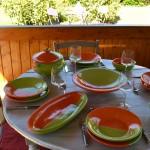 Plat ovale Kerouan orange et vert - L 40 cm