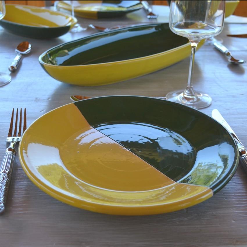 Assiette plate Kerouan jaune et vert - D 24 cm