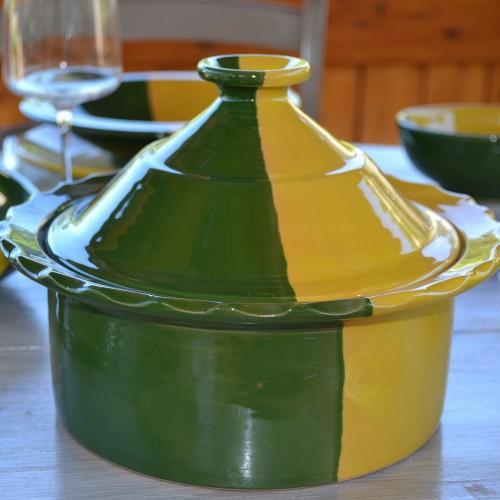 Cocotte Querouana Kerouan jaune et vert - D 20 cm