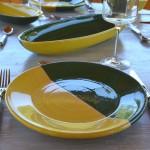 Plat ovale Kerouan jaune et vert - L 40 cm