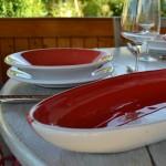 Assiette creuse Kerouan rouge et blanc - D 24 cm