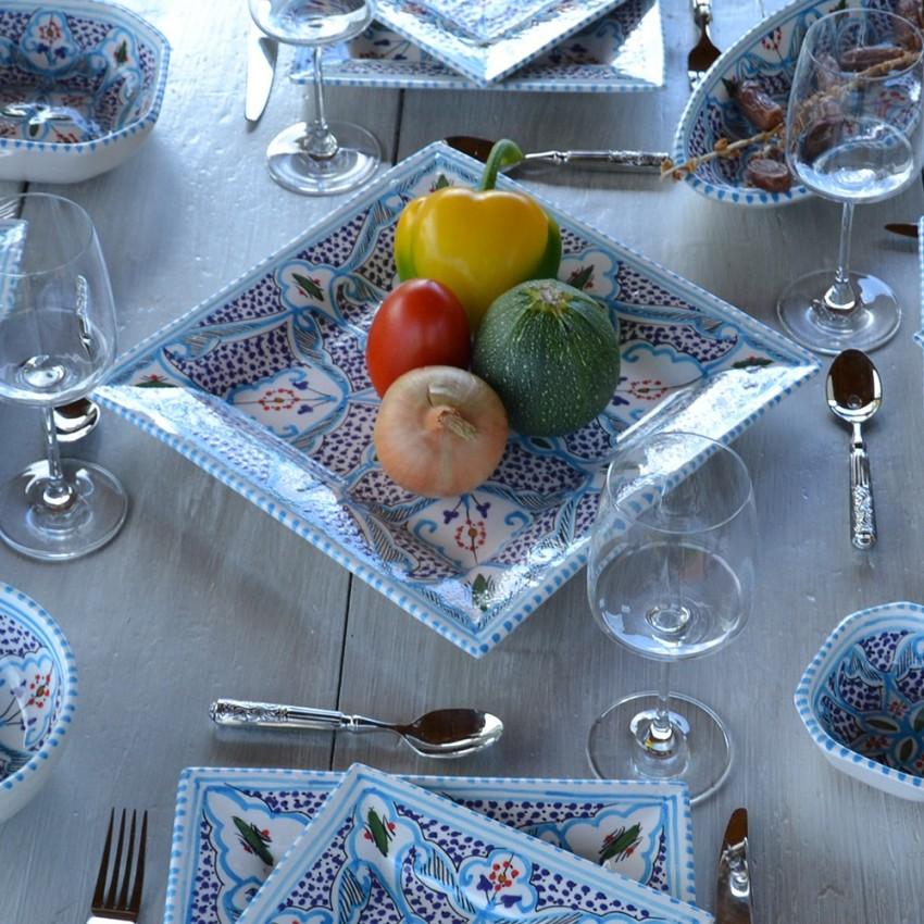 Plat carré Marocain turquoise - L 30 cm