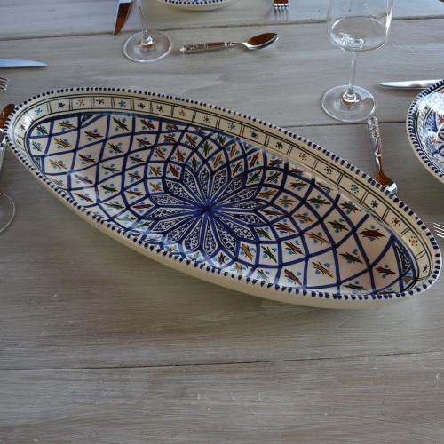 Plat ovale Jileni bleu - L 40 cm