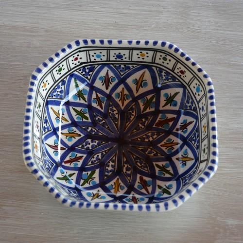 Plat octogonal Jileni bleu - L 16 cm