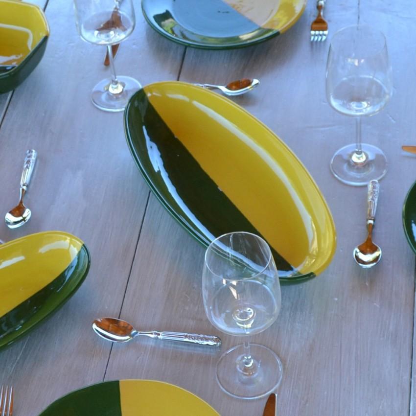 Plat ovale Kerouan jaune et vert - L 30 cm