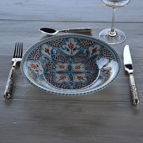 Assiette creuse Marocain turquoise - D 24 cm