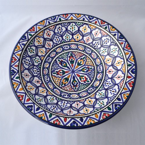 Plat rond Soukra - Pièce unique - D 37 cm