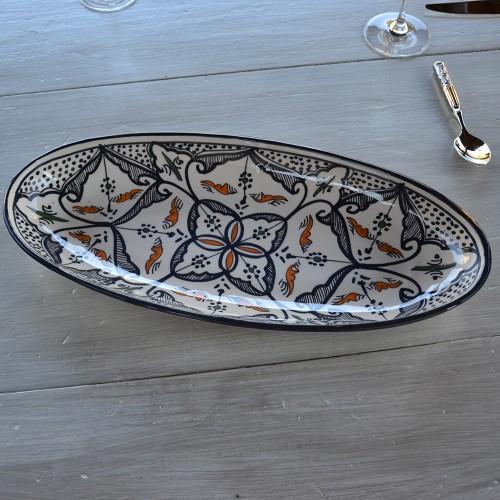 Plat ovale Marocain noir - L 30 cm