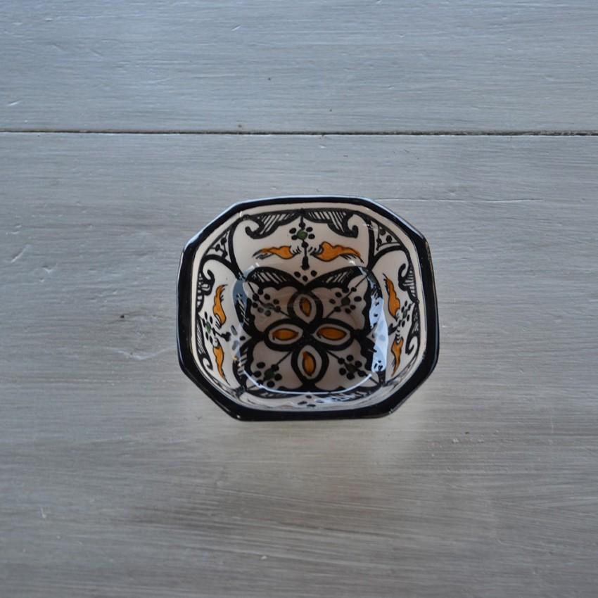 Plat octogonal Marocain noir - L 10 cm