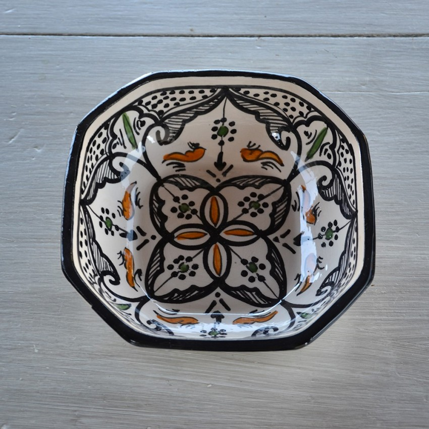 Plat octogonal Marocain noir - L 25 cm