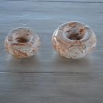 Cendrier anti fumée marbré marron et blanc - Petit modèle