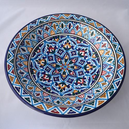 Plat rond Mahdia - Pièce unique - D 37 cm