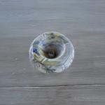 Cendrier anti fumée marbré blanc jaune et bleu - Moyen modèle