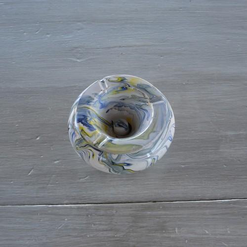 Cendrier anti fumée marbré blanc, jaune et bleu - Moyen modèle