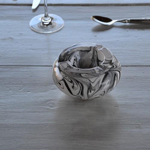 Cendrier anti fumée marbré noir et blanc - Moyen modèle