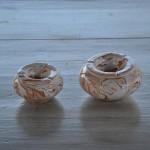 Cendrier anti fumée marbré marron et blanc - Moyen modèle