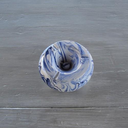 Cendrier anti fumée marbré bleu et blanc - Moyen modèle