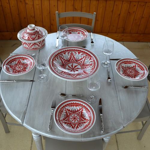 Service à couscous assiettes creuses Nejma rouge - 12 pers