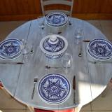 Service à couscous assiettes creuses Nejma bleu - 6 pers