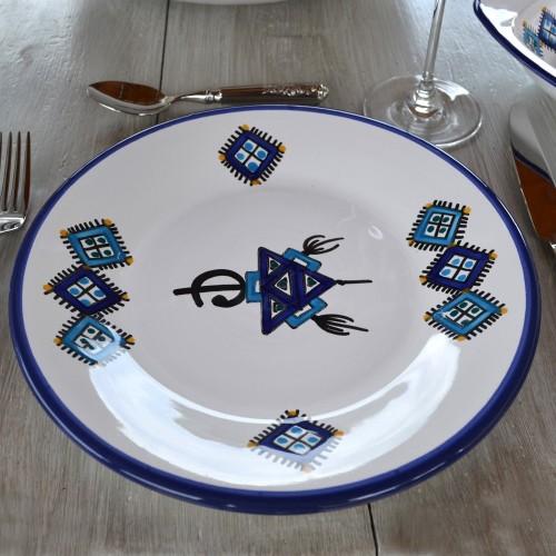 Assiette plate Sahel bleu - D 28 cm